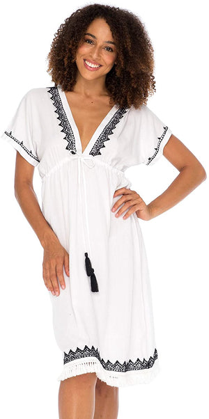 Boho V Neck Beach Dress Loose Fit Casual Embroidered Tunic Sundress Swimsuit Cover Up