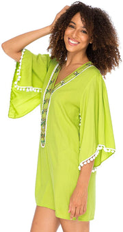 Boho Beaded Loose Fit Tunic Dress V-Neck Top Cape Sleeves Cover Up