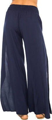Back From Bali Womens Palazzo Pants Wide Leg Loose Beach Pants with Slit Boho Swimsuit Cover Up Navy S/M