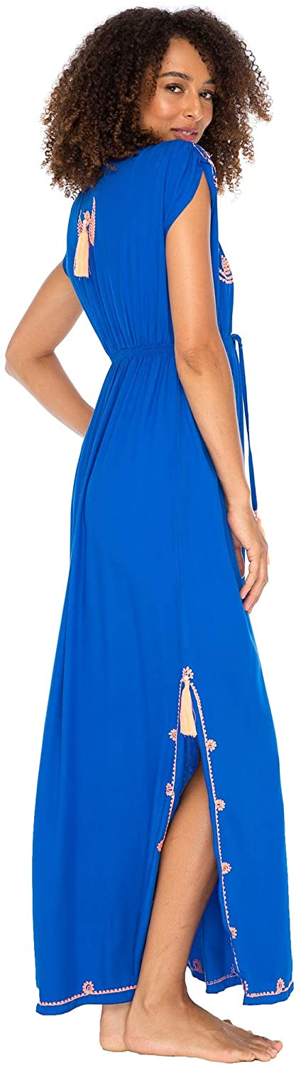 Back From Bali Womens Long Maxi Dress Boho Embroidered Sleeveless Summer Sundress Deep V Neck Royal Blue M/L