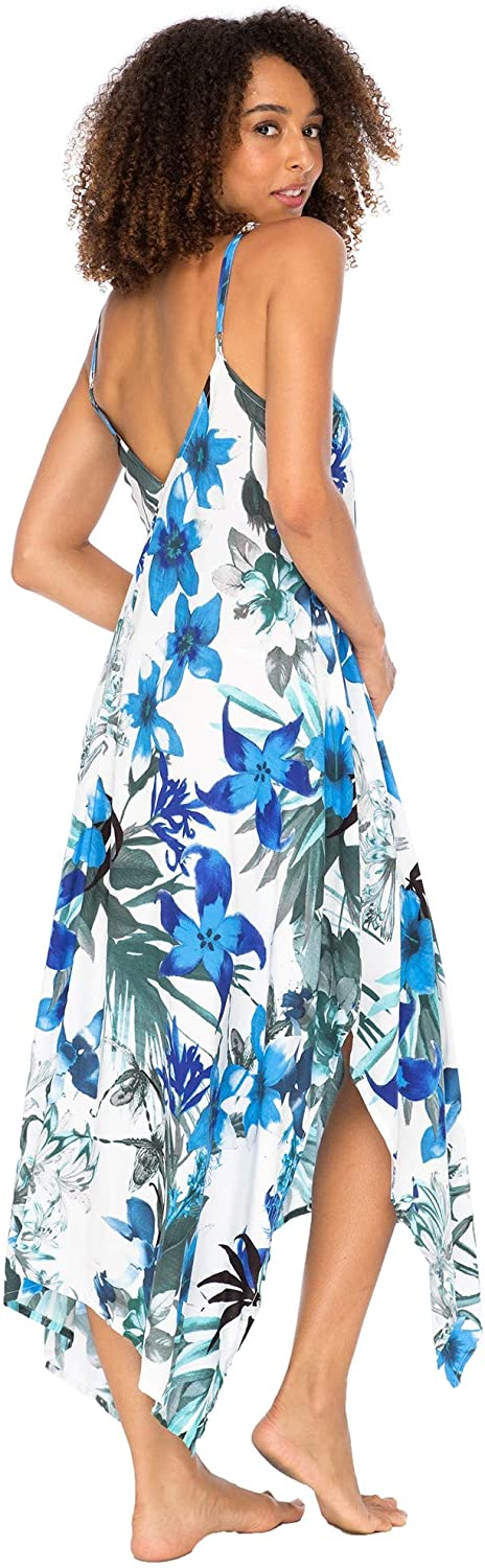 Back From Bali Womens Sleeveless Floral Summer Maxi Dress, Spaghetti Straps Long Casual Boho Sexy Beach Cover Up Blue Floral S/M