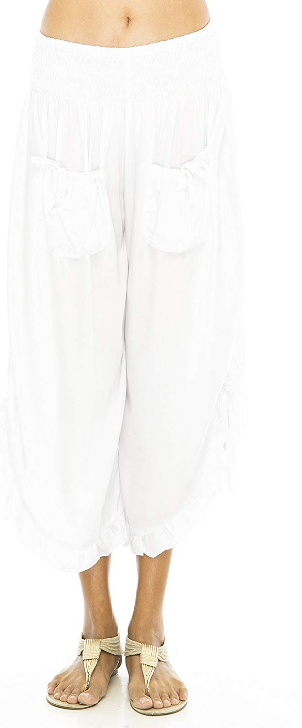 Back From Bali Womens Wide Leg Comfort Elastic Waist Crop Ruffle Hem Audi Pants White S/M