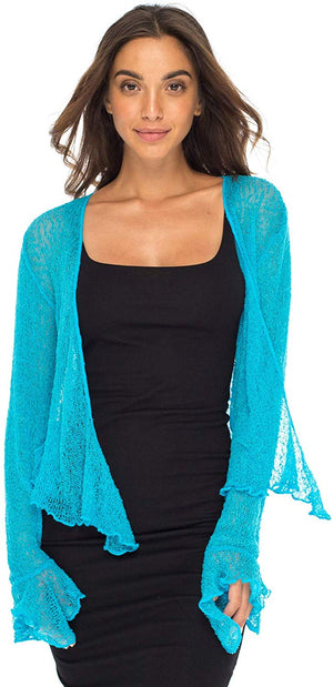 Back From Bali Womens Sheer Shrug Bolero Long Sleeves Cropped Cardigan Lite Bell Sleeves Turquoise S/M