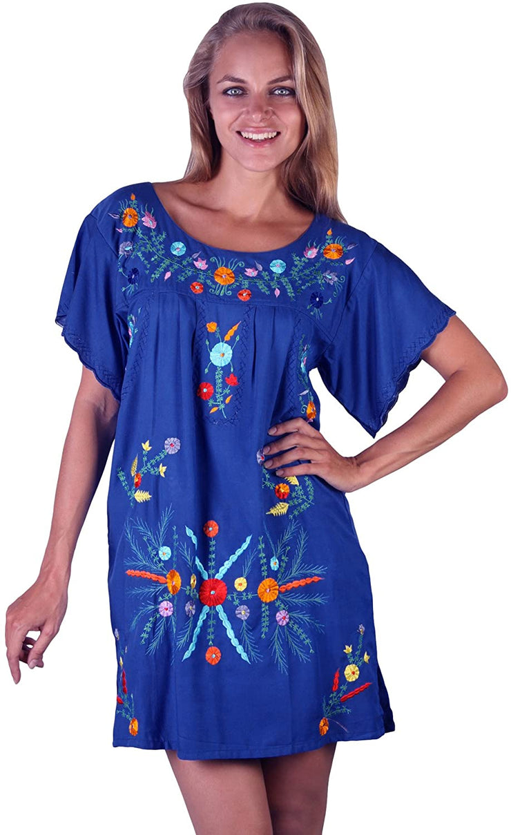 Back From Bali Mexico Embroidered Short Dress Blue S/M