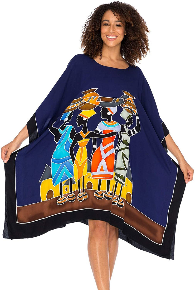 Short Caftan Dress Poncho Beach Cover Up African Prints