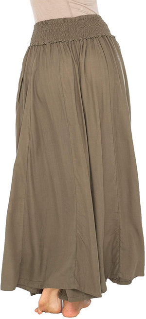 Back From Bali Womens Boho Wide Leg Palazzo Pants Smocked Waist Harem Lounge Loose Summer Beach Pants Olive M/L