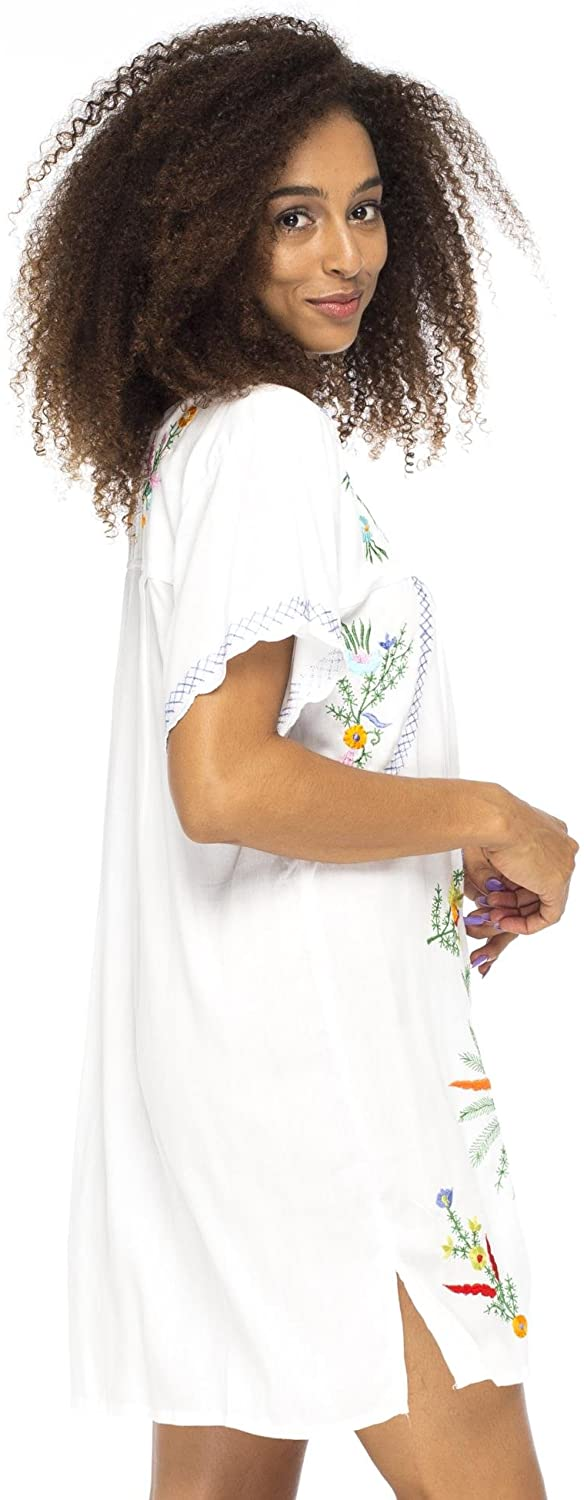 Back From Bali Mexico Embroidered Short Dress White M/L