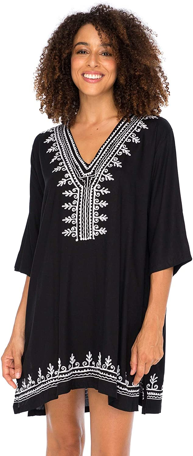 Back From Bali Womens Boho Embroidered Swimsuit Cover Up Loose Fit Casual Tunic Top Dress Resort Wear Black L/XL