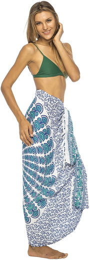 Back From Bali Womens Beach Swimsuit Bikini Cover Up Wrap and Clip Sarong Peacock White Tosca
