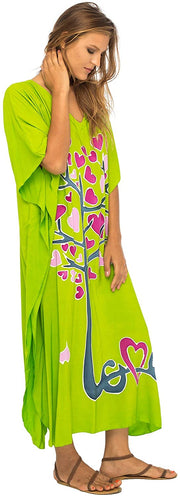 Back From Bali Womens Beach Cover Up Maxi, Kaftan Love Tree Beach Dress Swimsuit Cover Up Lime S/M