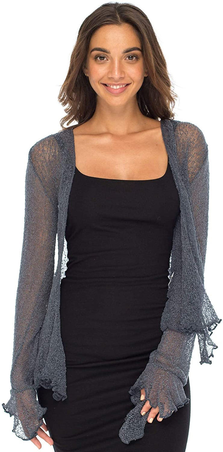 Back From Bali Womens Sheer Shrug Bolero Long Sleeves Cropped Cardigan Lite Bell Sleeves Gunmetal S/M