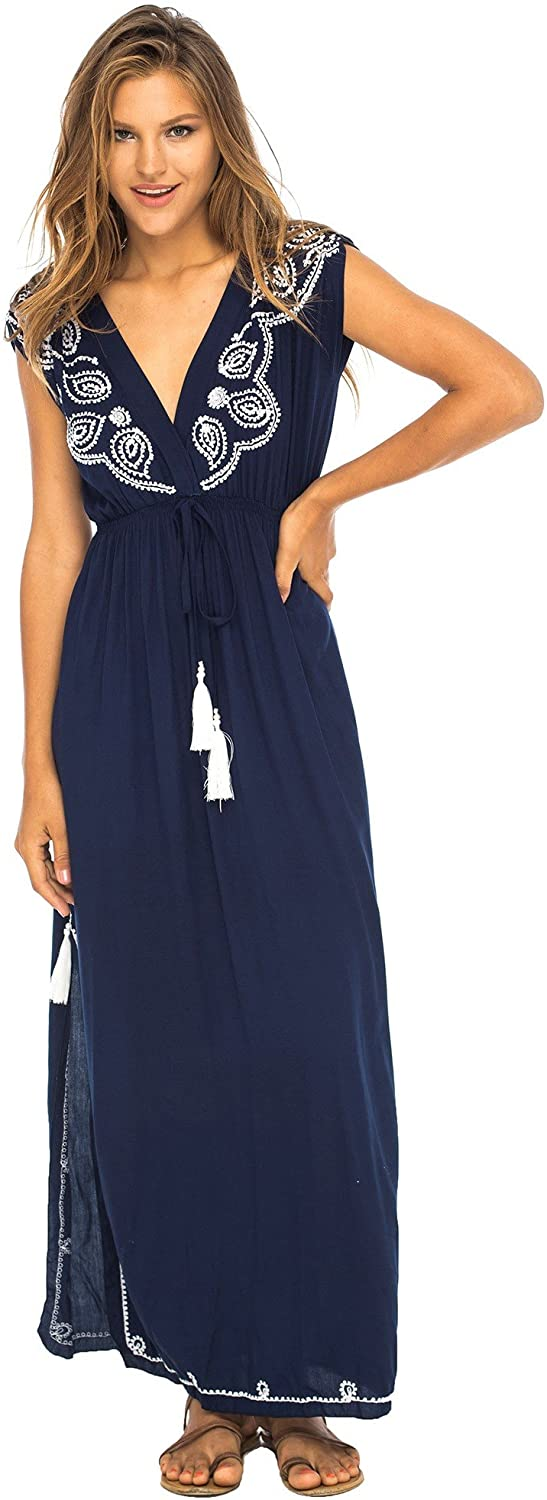 Back From Bali Womens Long Maxi Dress Boho Embroidered Sleeveless Summer Sundress Deep V Neck Navy L/XL