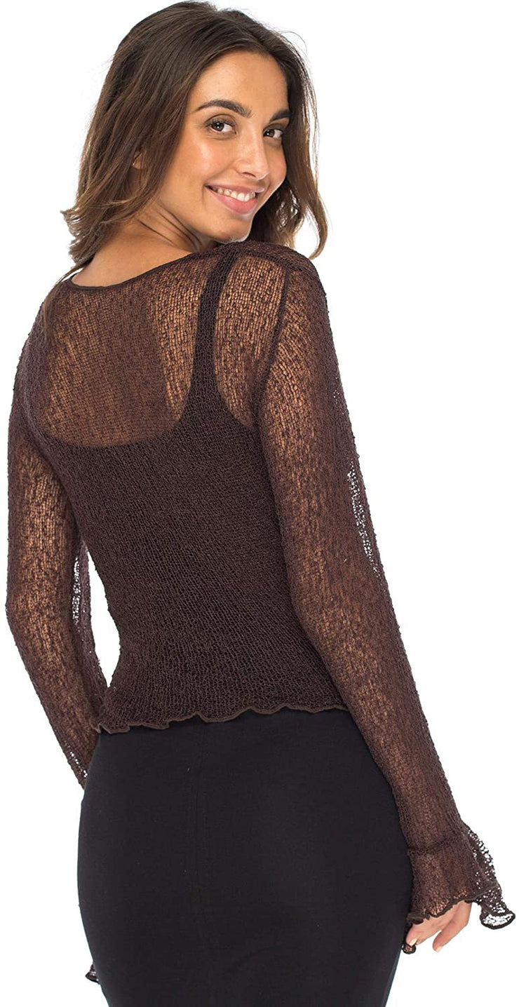 Back From Bali Womens Sheer Shrug Bolero Long Sleeves Cropped Cardigan Lite Bell Sleeves Brown S/M