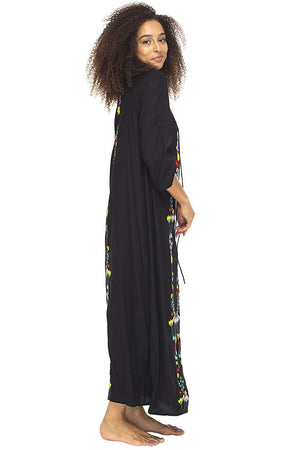 Back From Bali Morracan Dress Long Womens Boho Cover up Embroidery Black XXL