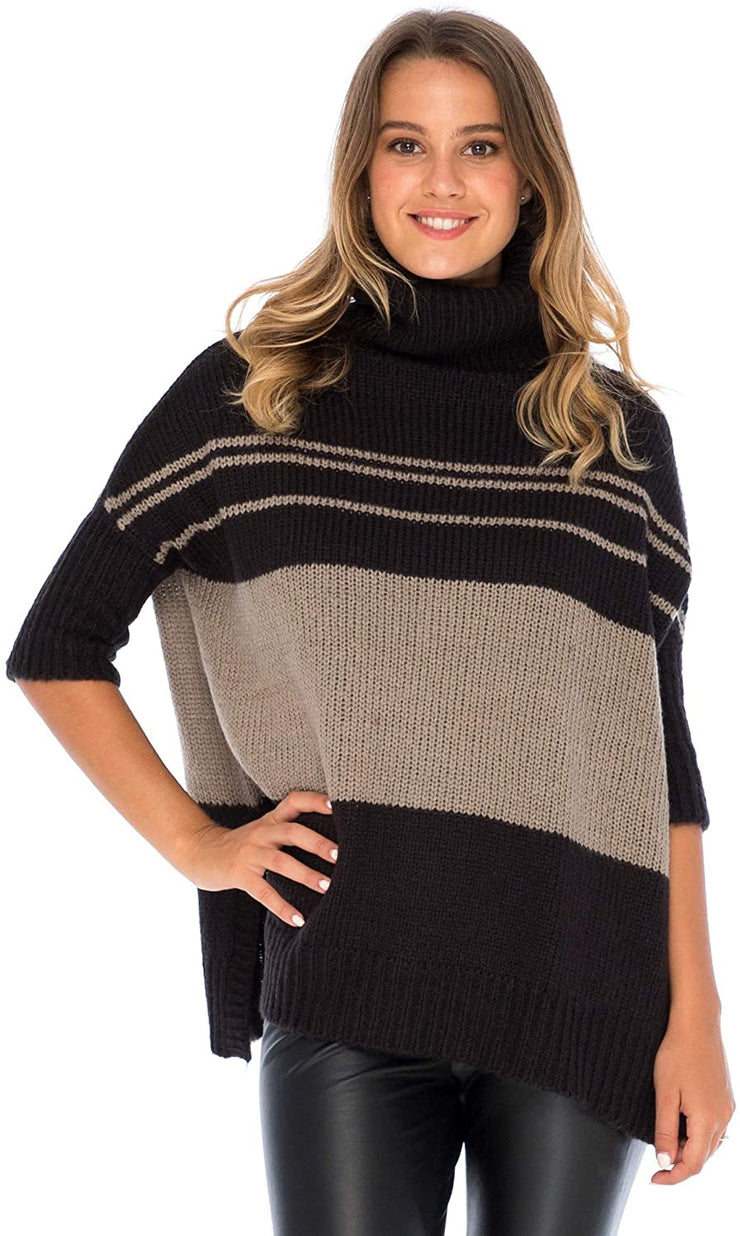 Back From Bali Womens Turtleneck Loose Fit Tunic Sweater ¾ Sleeve Oversized Black Knit Striped Pullover Top Black Toffee L/XL