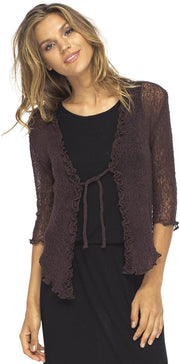 Back From Bali Womens Sheer Shrug Cardigan Sweater Ruffle Lightweight Knit  Brown One Size