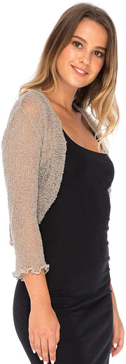 Sheer Shrug Bolero Cardigan 3/4 Sleeves