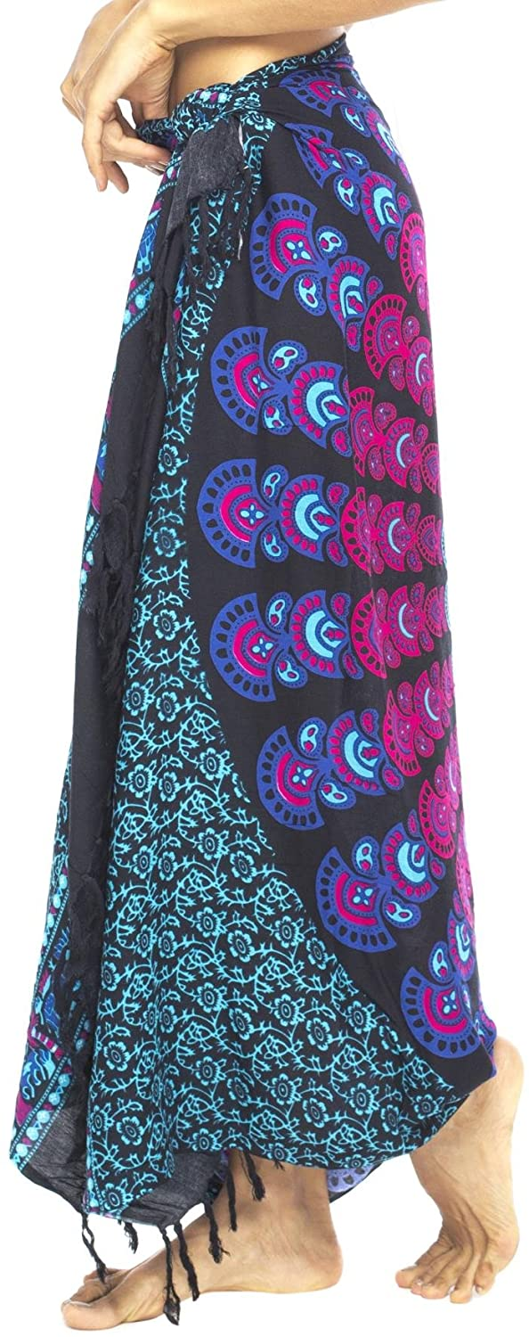 Back From Bali Womens Beach Swimsuit Bikini Cover Up Wrap and Clip Sarong Peacock Black Turquoise