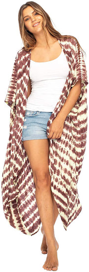 Long Maxi Tie Dye Beach Kimono Cardigan Bathing Suit Swimsuit Cover Up