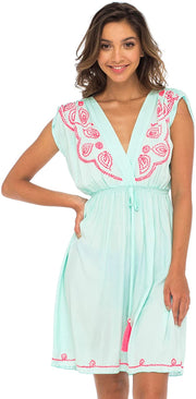 Back From Bali Womens Dress Boho Embroidered Sleeveless Summer Sundress Deep V Neck Midi Short Dress Aqua M/L