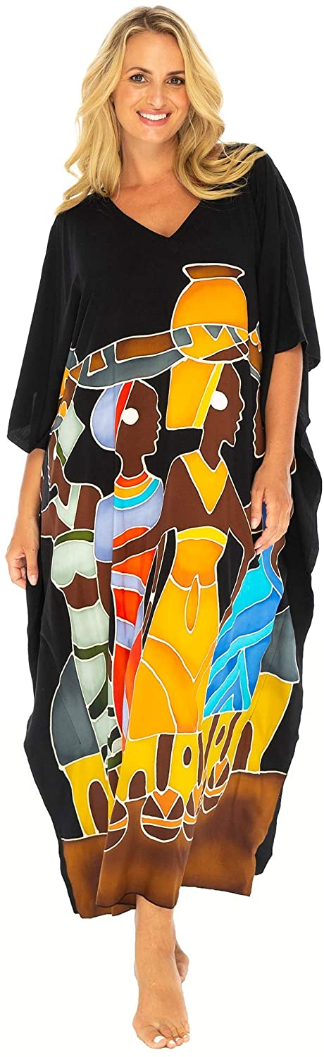 Back From Bali Womens Beach Swimsuit Cover Up Caftan Poncho Long Africa Four Sisters Black