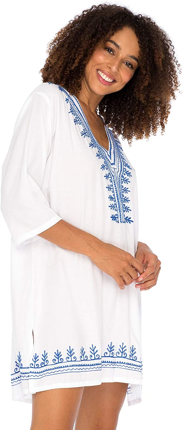 Back From Bali Womens Boho Embroidered Swimsuit Cover Up Loose Fit Casual Tunic Top Dress Resort Wear White S/M