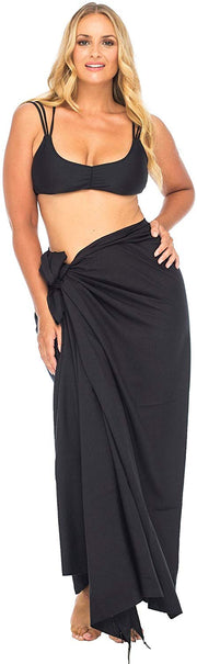 Plus Size Sarong Beaded Swimsuit Cover Up Beach Wrap Skirt with Coconut Clip Fits Sizes 1X-4X Navy