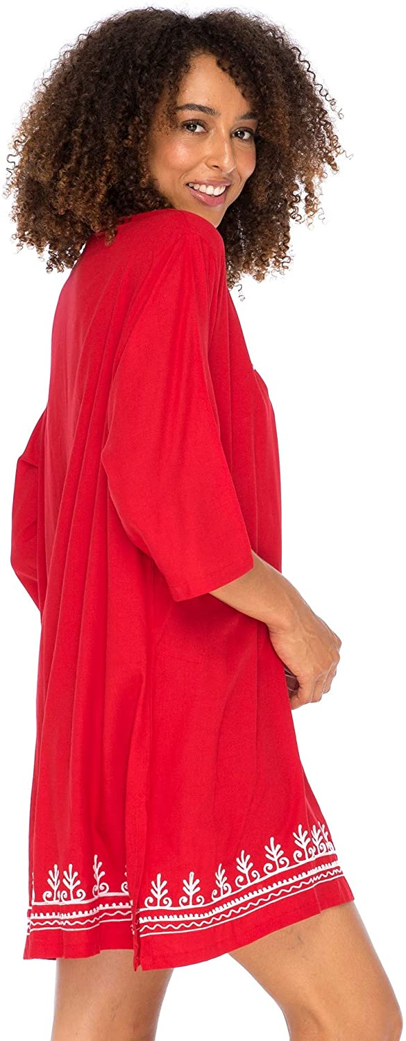 Back From Bali Womens Boho Embroidered Swimsuit Cover Up Loose Fit Casual Tunic Top Dress Resort Wear Red S/M
