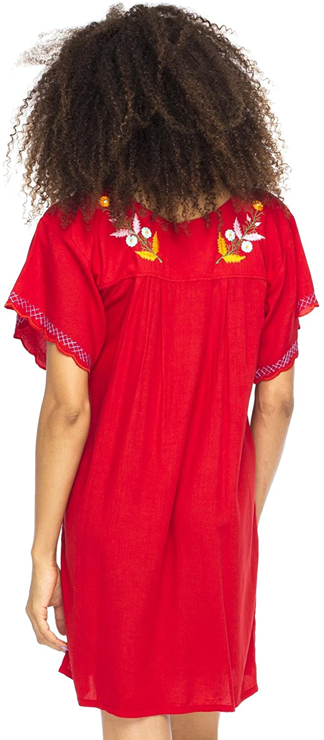 Mexico Embroidered Short Dress Red S/M