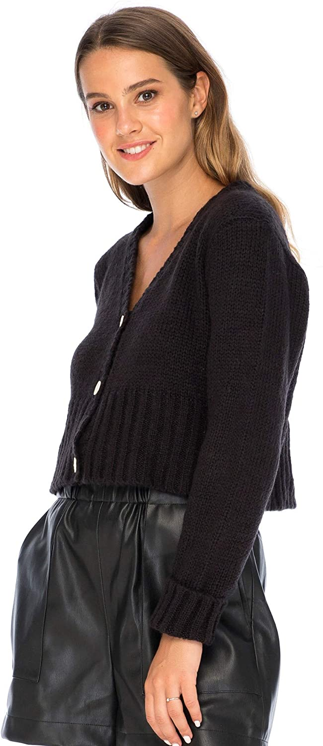 Back From Bali Womens Button Down Cropped Cardigan Sweater Long Sleeve V Neck Knit Shrug Bolero Black S/M