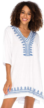 Embroidered Swimsuit Cover Up Loose Fit Casual Tunic Top Dress Resort Wear