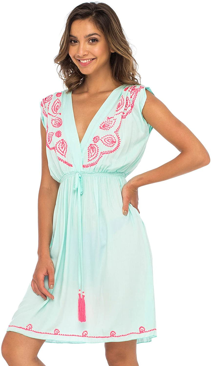 Back From Bali Womens Dress Boho Embroidered Sleeveless Summer Sundress Deep V Neck Midi Short Dress Grey L/XL