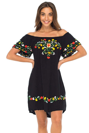 Off Shoulder Short Mexican Embroidered Dress Floral Boho Peasant Dress Tunic Top