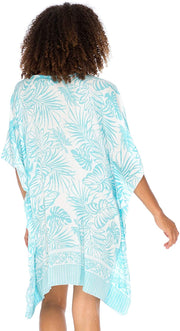 Back From Bali Womens Boho Swimsuit Cover Up Beach Dress Tunic Top Bohemian Leaf Print Short Kaftan Aqua L/XL