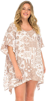 Plus Size Aztek Beach Dress Loose Fit Tunic Top Asymmetrical Hem Swimsuit Cover Up
