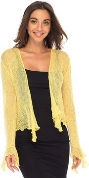 Back From Bali Womens Sheer Shrug Bolero Long Sleeves Cropped Cardigan Lite Bell Sleeves Sweet Yellow L/XL