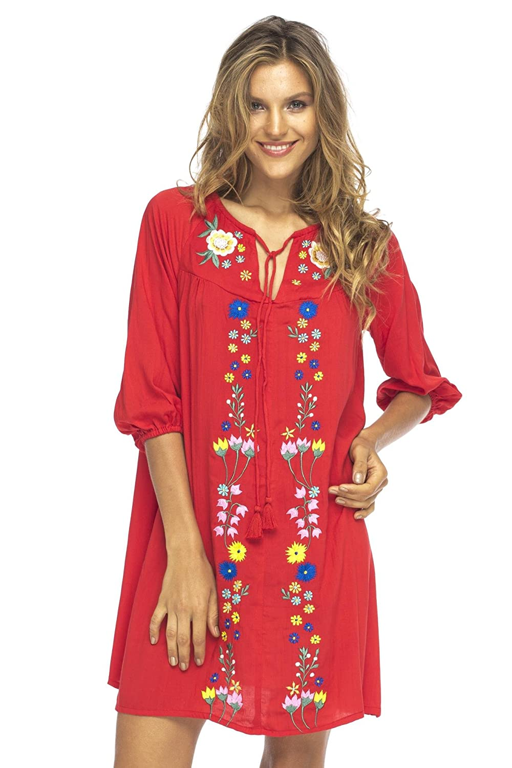 Boho Short Dress Embroidery Long Sleeves Moroccan Style