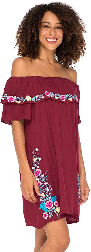 Off Shoulder Embroidered Tunic Dress Boho Short Ruffle Beach Sundress