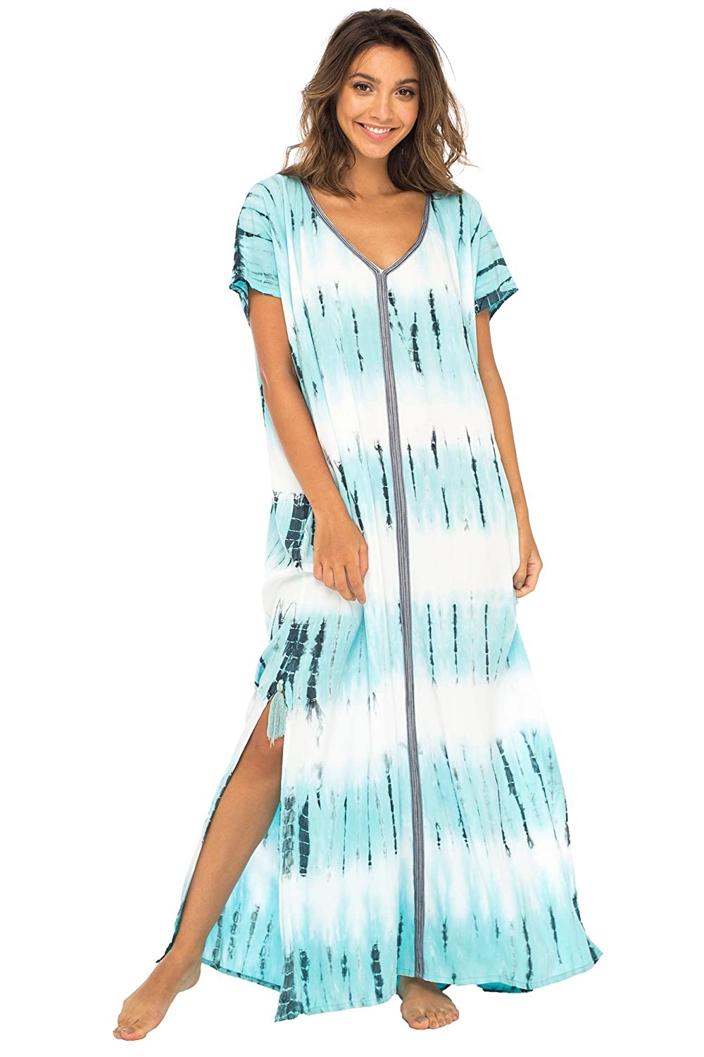 Back From Bali Womens Long Swimsuit Bathing Suit Cover up Maxi Beach Dress Boho Striped Summer Dress Caftan Marine
