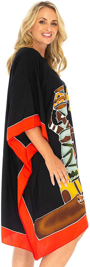 Short Opaque Beach Cover Up in African Prints