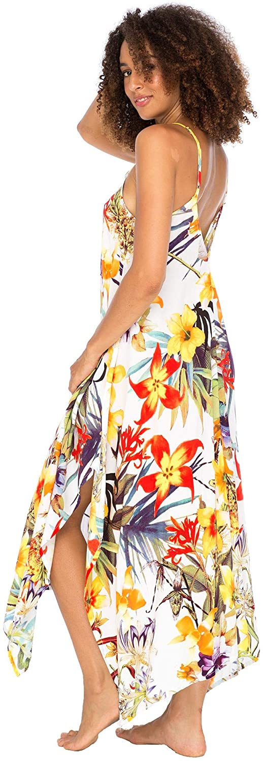 Back From Bali Womens Sleeveless Floral Summer Maxi Dress, Spaghetti Straps Long Casual Boho Sexy Beach Cover Up White Floral M/L