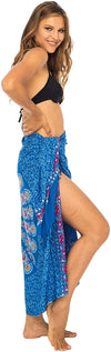 Back From Bali Womens Sarong Beach Swimsuit Bikini Cover up Wrap Peacock & Clip