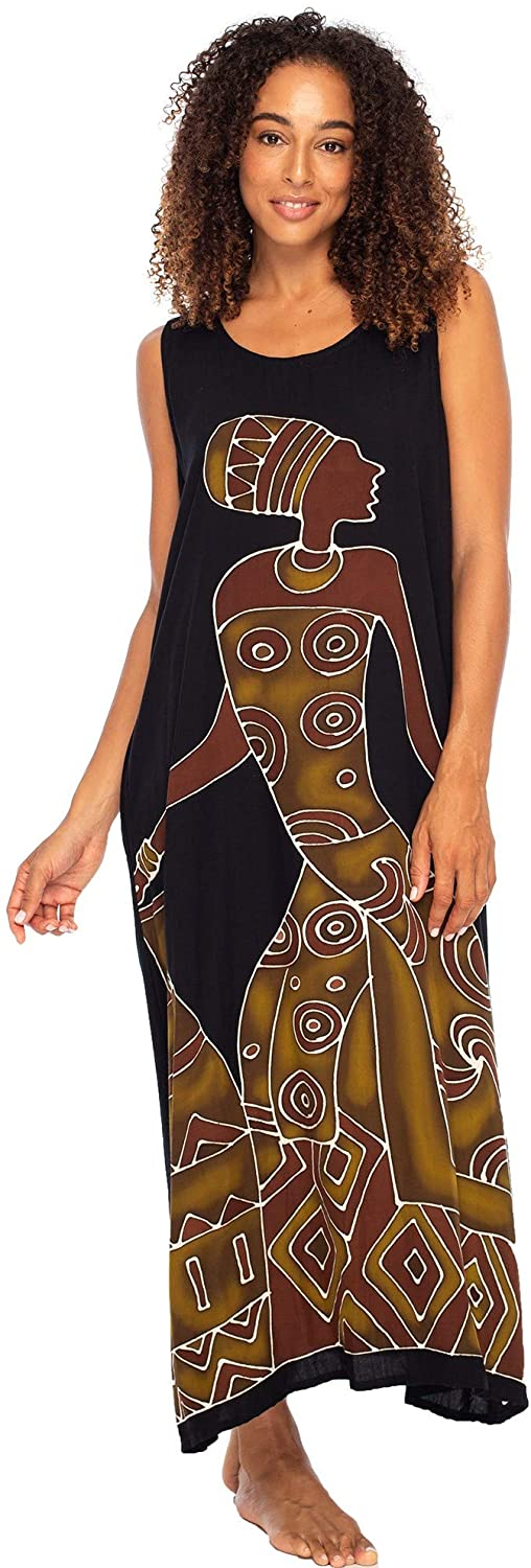 Long African Print Maxi Dress Sleeveless Beach Kaftan with Pockets