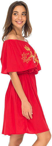 Back From Bali Womens Off Shoulder Boho Embroidered Dress Short Ruffle Beach Sundress Red L/XL