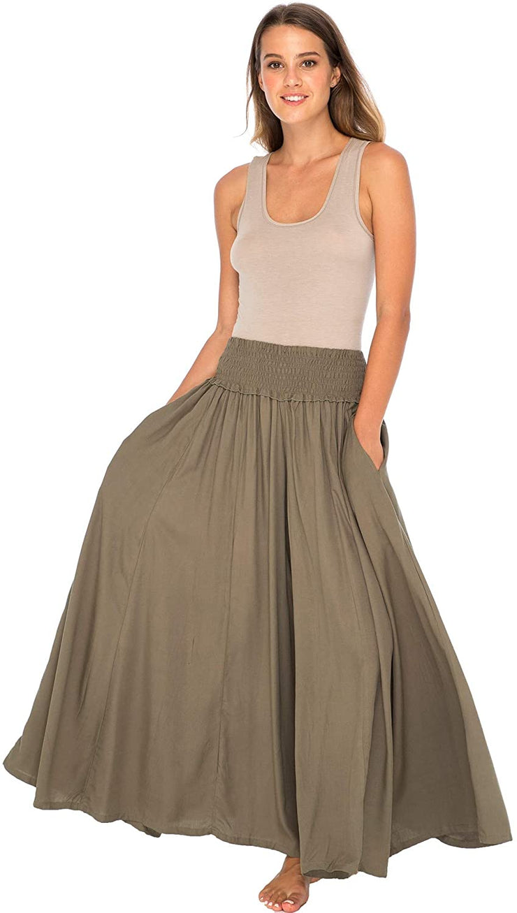 Back From Bali Womens Boho Wide Leg Palazzo Pants Smocked Waist Harem Lounge Loose Summer Beach Pants Olive L/XL