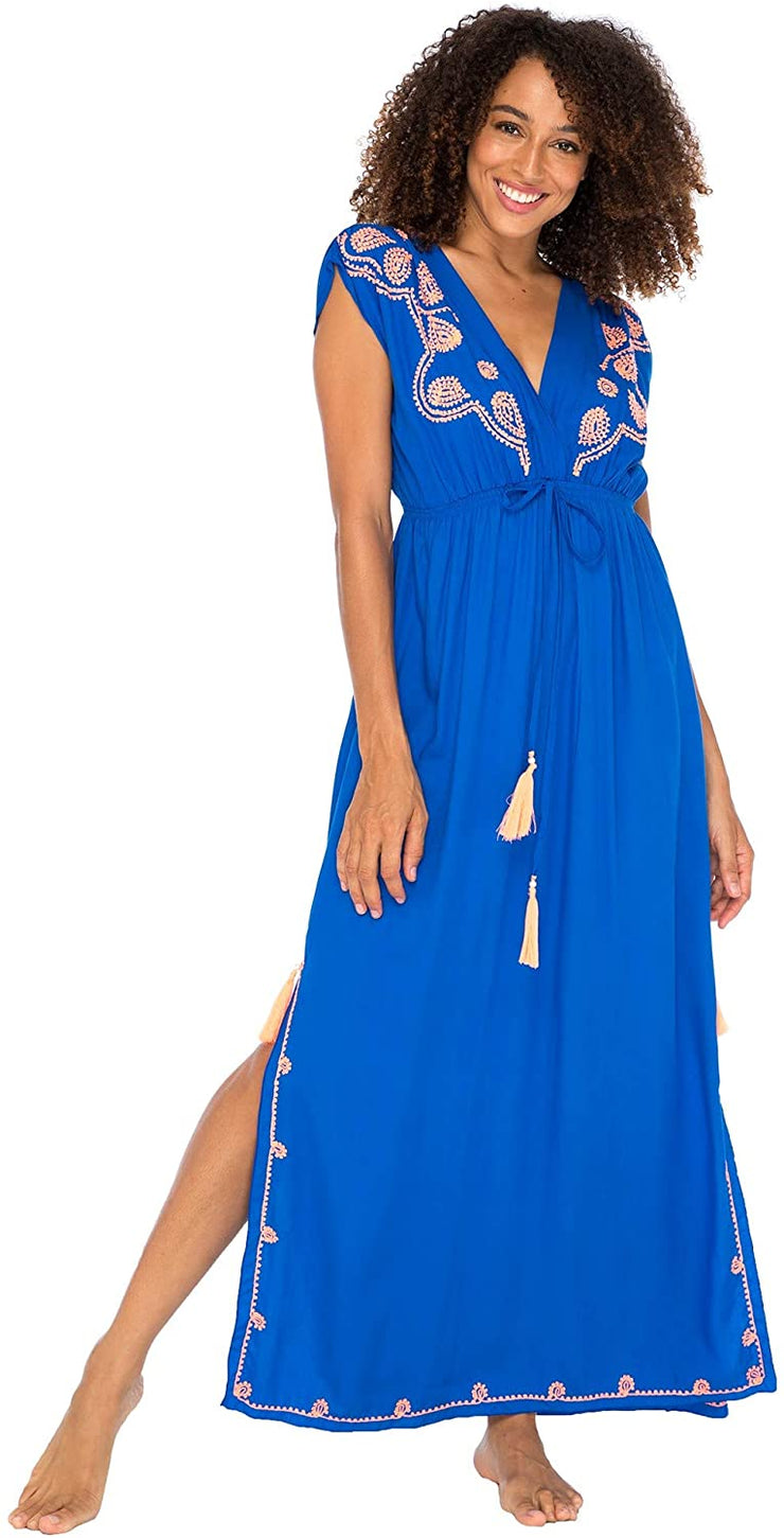 Long Maxi Dress Boho Embroidered Sleeveless Summer Sundress Deep V Neck
