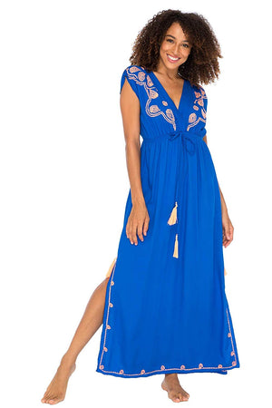 Long Maxi Embroidered Dress with V Neck