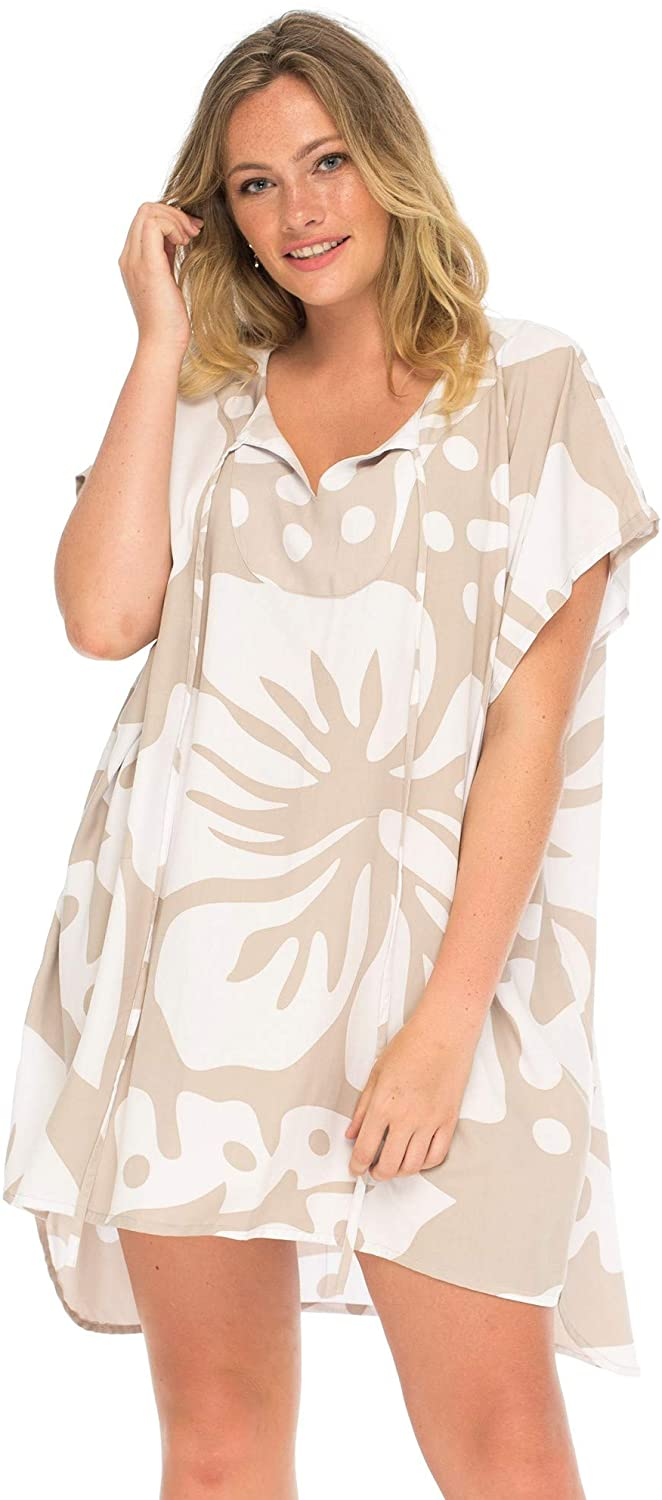 Plus Size Swimsuit Cover Up Hibiscus Floral Print High-Low Short Beach Tunic