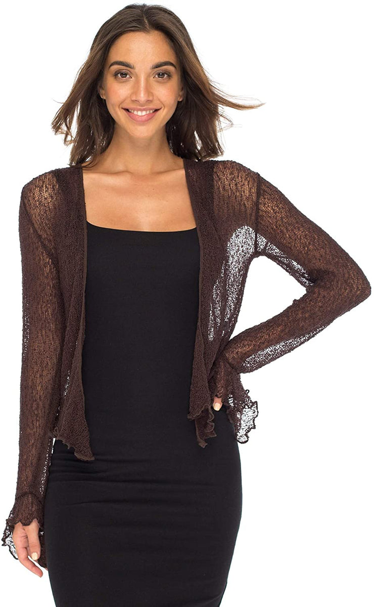Back From Bali Womens Sheer Shrug Bolero Long Sleeves Cropped Cardigan Lite Bell Sleeves Brown L/XL