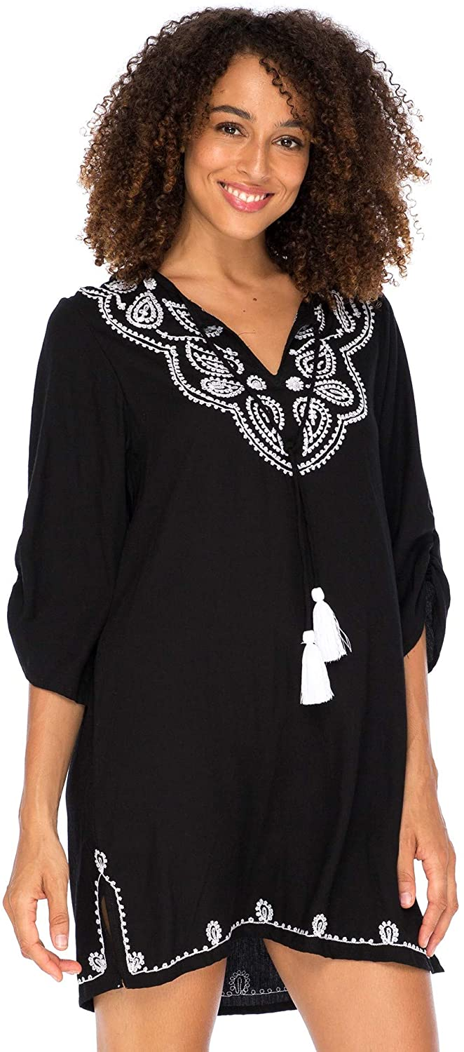 Boho Embroidered Loose Fit Tunic Dress V-Neck with Tassel Tie  Swimsuit Cover Up